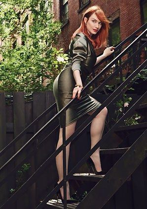 0810 01 christina hendricks glamour sept 2011 olive green dress at