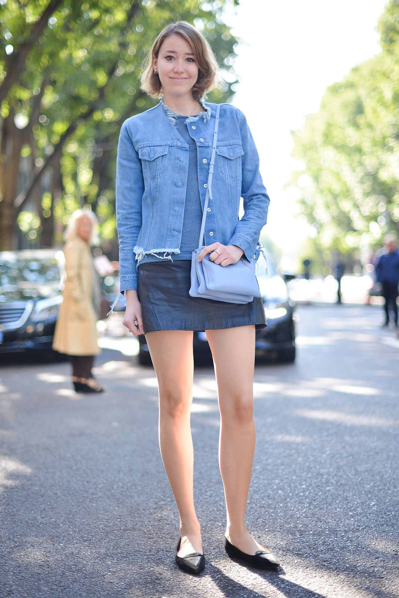 נפילה 2015 denim street style milan fashion week jacket leather skirt