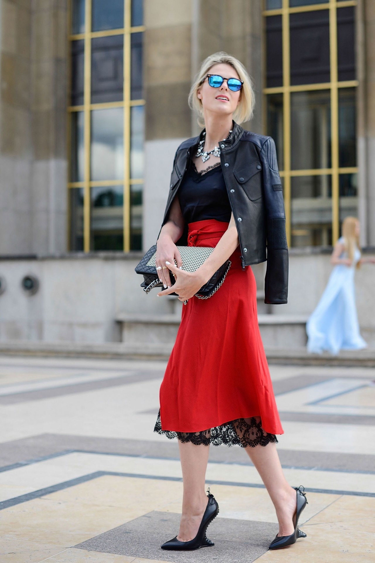sofie Valkiers moto jacket red skirt paris street style