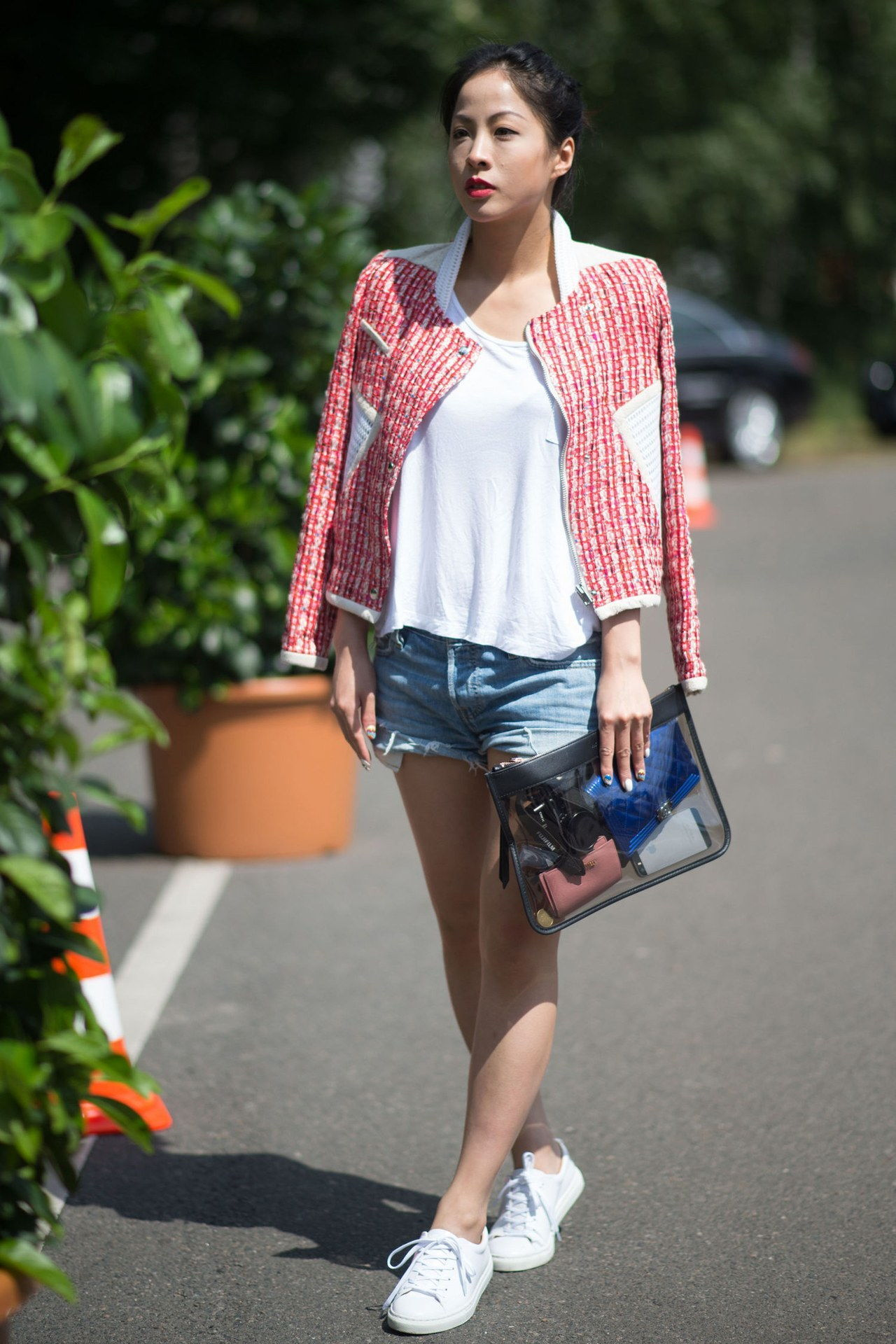 Pariisi street style tweed jacket cut offs