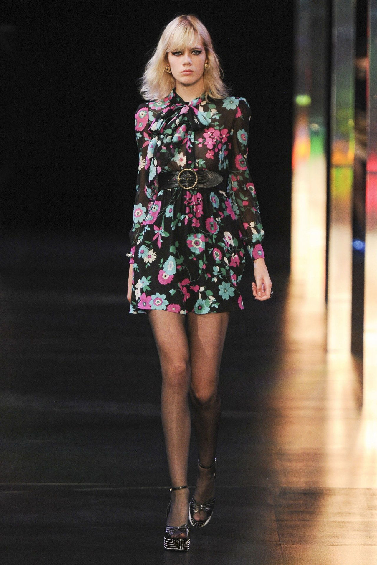संत laurent printed babydoll dress spring 2015