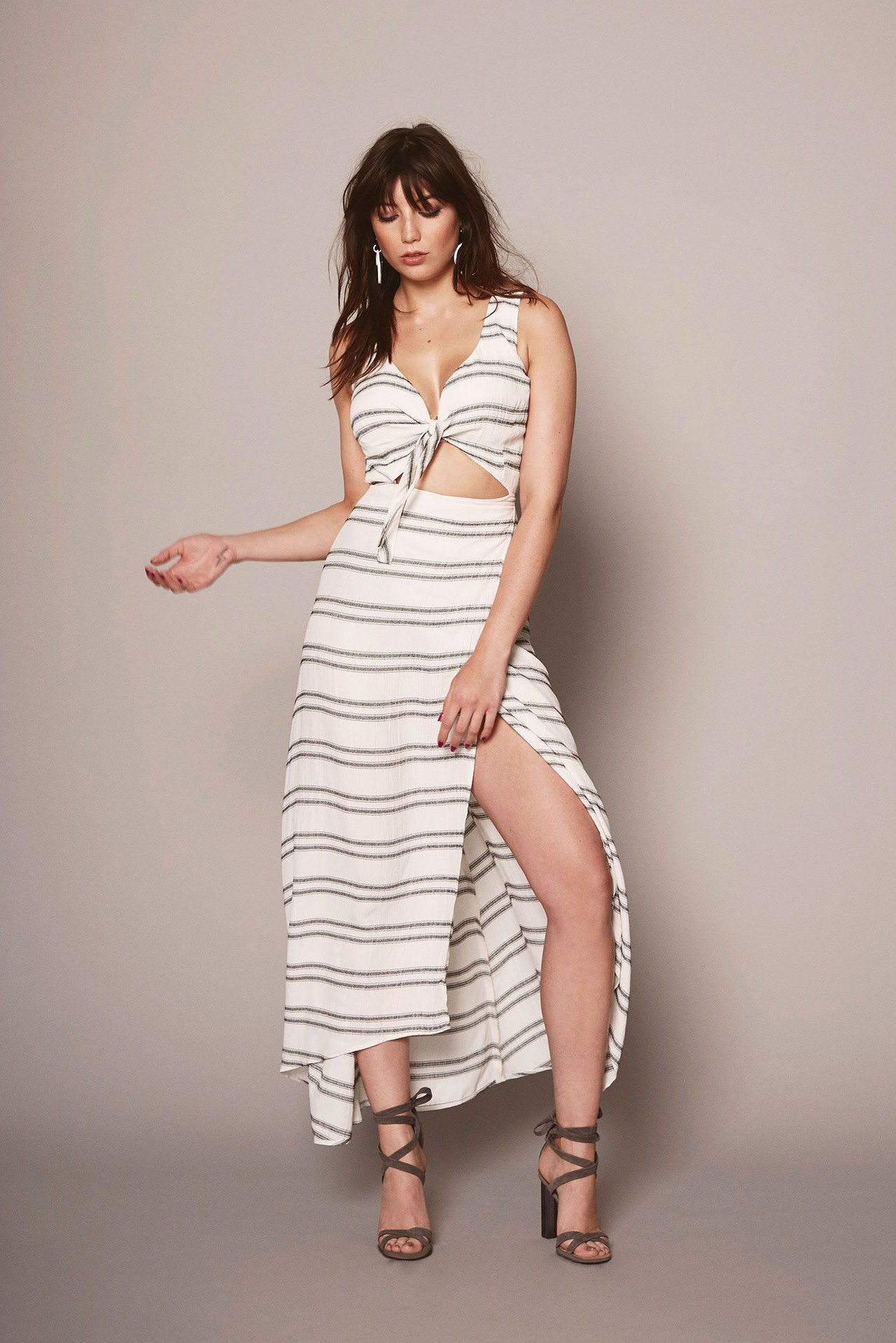 reformacija big bust collection striped dress