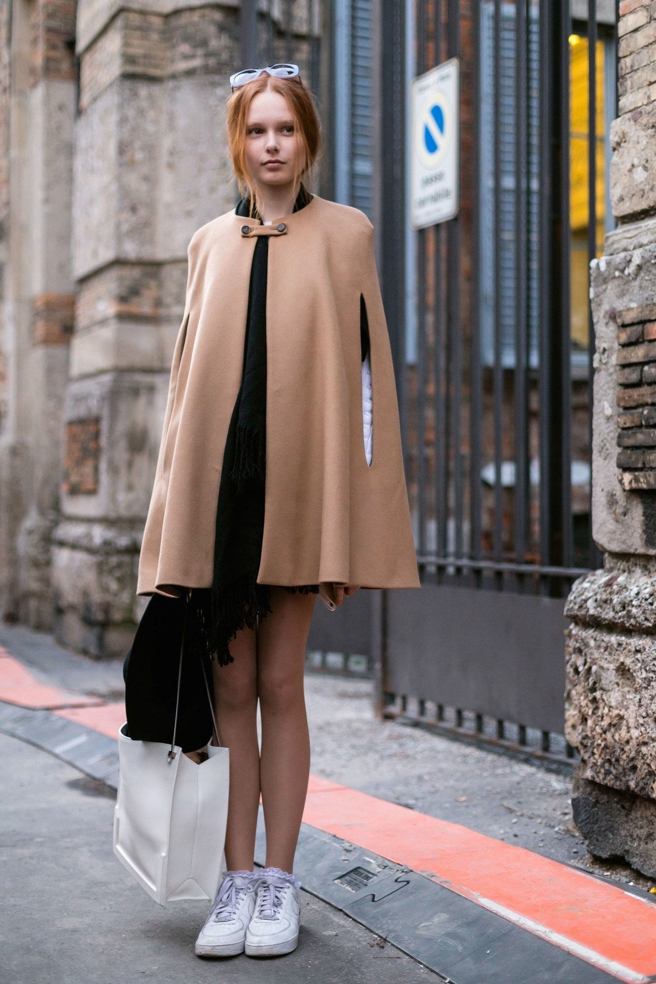 pad winter cape camel dress sneakers