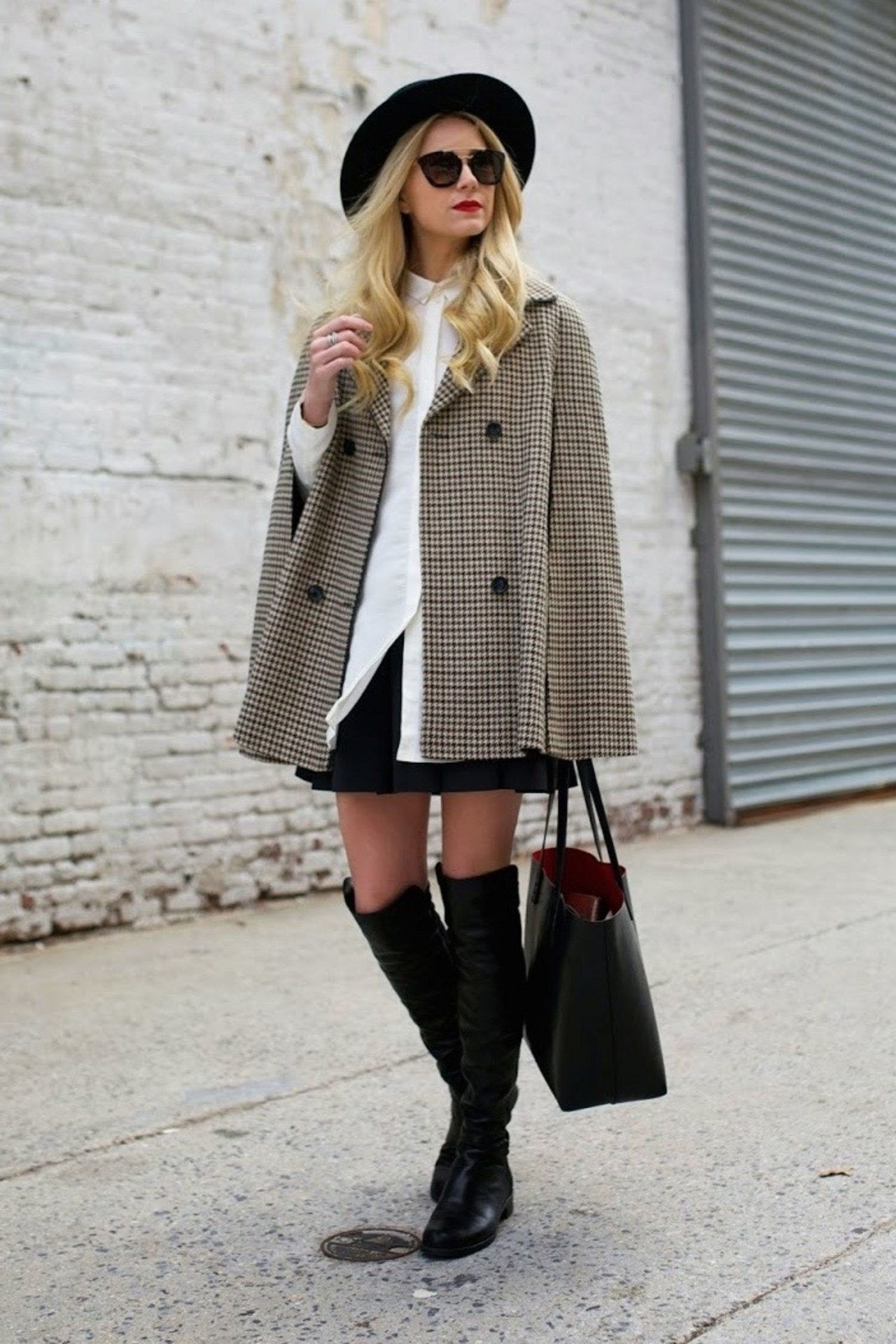 pad winter cape houndstooth
