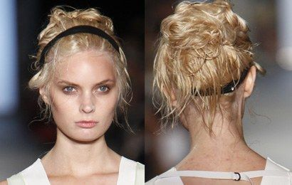 0911 messy buns hairstyles new york fashion week 2011